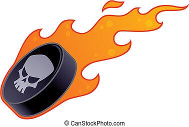 disco, logotipo, fiammeggiante, hockey, cranio
