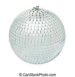 Disco mirrorball - Real disco mirrorball isolated on white...