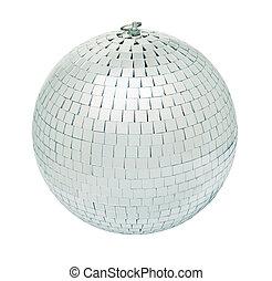 Disco mirrorball - Real disco mirrorball isolated on white...