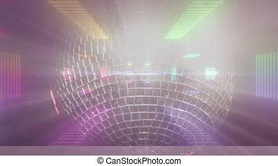 disco, mouvement, rotation, refléter balle, contre, hypnotique, fond