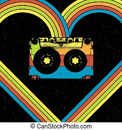 Disco music concept illustration. Audiocassette in heart shaped rainbow lines. Oldie style vector poster