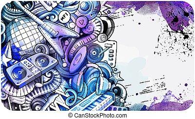 Disco Music hand drawn doodle banner. Cartoon detailed flyer.