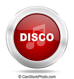 disco music icon, red round glossy metallic button, web and mobile app design illustration