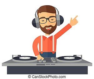 disco, music., jinete, mezclar