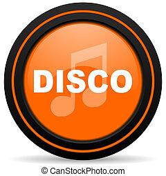 disco music orange glossy web icon on white background