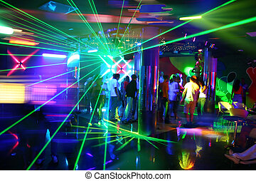 Party at Disco with young people and fantastic laser show