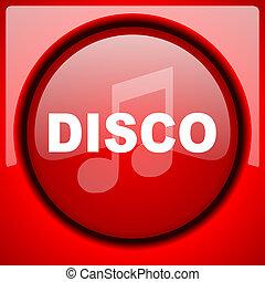 disco music red icon plastic glossy button