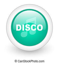 disco music round glossy web icon on white background