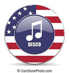 Disco music usa design web american round internet icon with shadow on white background.