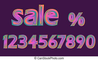 Disco Neon Pink Glowing Sale Numbers Set Discount Percent vector illustration