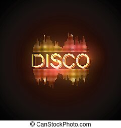 Disco neon sign with digital music equalizer