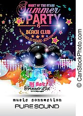 Disco Night Club Flyer layout with Speaker shape and music...
