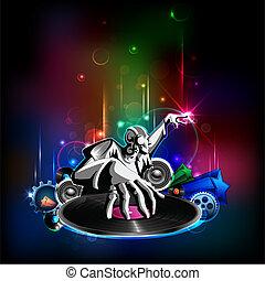 Disco Night - illustration of disco jockey playing music on...