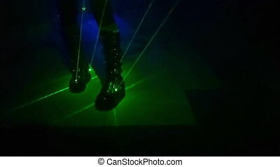 Disco nightlife dancer - woman dancer in black and...