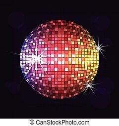 disco, nuit, balle, vecteur