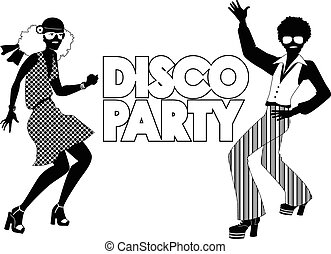 Disco party - Black vector silhouette for a disco party ...
