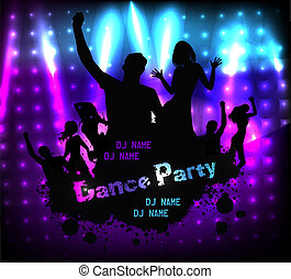 Disco party grunge poster template