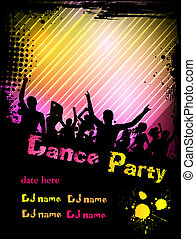 Disco party poster background with grunge frame