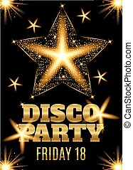 Disco party poster template with shining gold star. Vector illustration