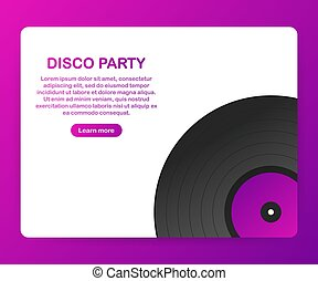 Disco party poster with retro design elements. Vector illustration.