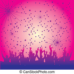 disco people hand up vector art
