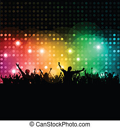 Silhouette of a party crowd on disco lights