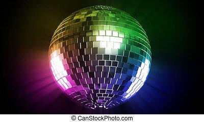disco piłka, i, kolor, promień
