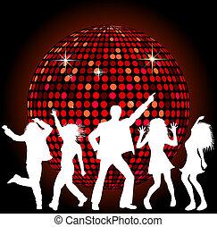disco piłka, i, taniec, ludzie