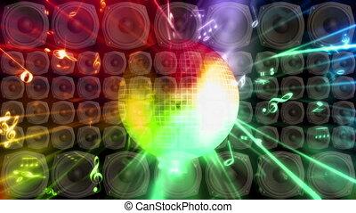 disco piłka, mówiące, stroboskop, pętla