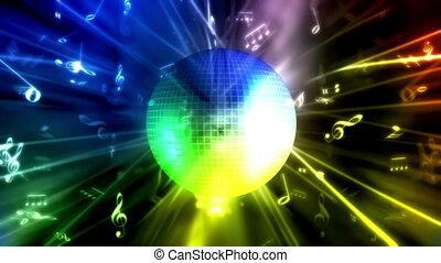 disco piłka, muzyka, tło, pętla