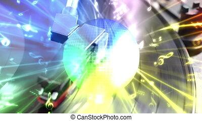 disco piłka, odtwarzacz, nie, pętla