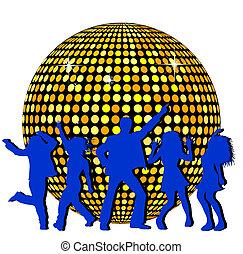 disco piłka, taniec, ludzie
