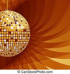 disco piłka, złoty, na, abstrakcyjny, tło
