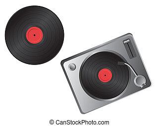 disco, plataforma giratória, vetorial, -, vinil
