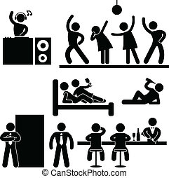 A set of pictograms representing people in pub, disco, night club, bar, and party.