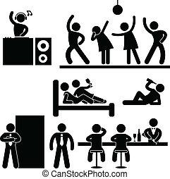 Disco Pub Night Club Bar Party - A set of pictograms...