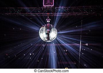 disco, refleje pelota, ahorcadura, en, un, retro, fiesta
