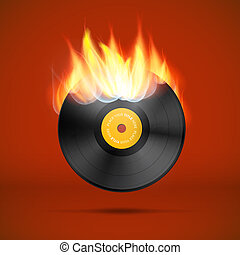 disco, registro, vinil, vetorial, chamas