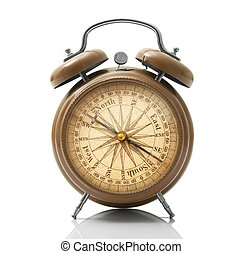 disco, relógio, alarme, fundo, compasso, branca