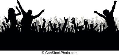 disco, silhouette, concert, foule, danse