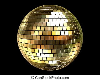 disco sphere - 3d rendered illustration of a golden disco...