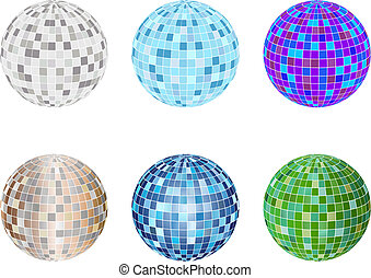 Set of disco sphere equipment in three-dimensions shape