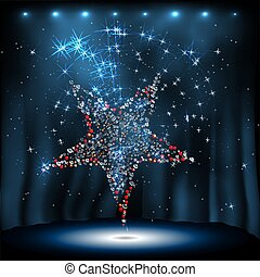 disco star on night vector background