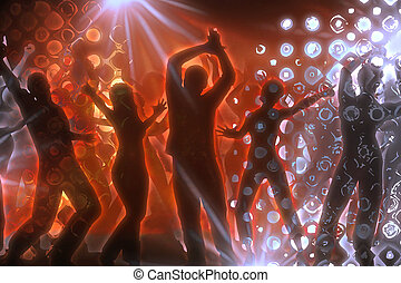 disco - many people are dancing in a disco
