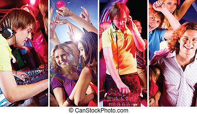 Disco - Collage of attractive young people dancing at disco...