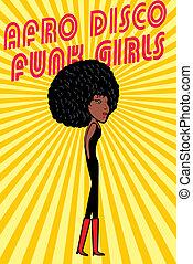 disco style afro girls vector art