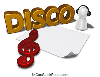 disco tag, blank white paper sheet and pawn with headphones - 3d rendering