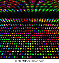 Disco varicolored circles mosaic vibrant vector background.