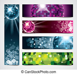 Disco vector banners set