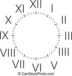 disco, vertical, relógio, romana, pretas, números